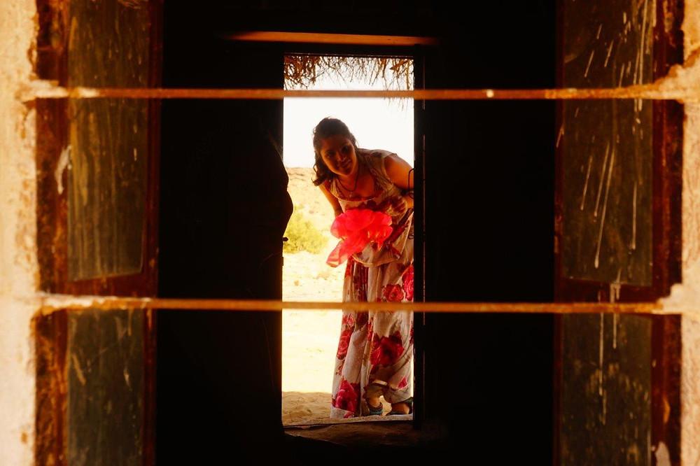 Peeking through the front door!