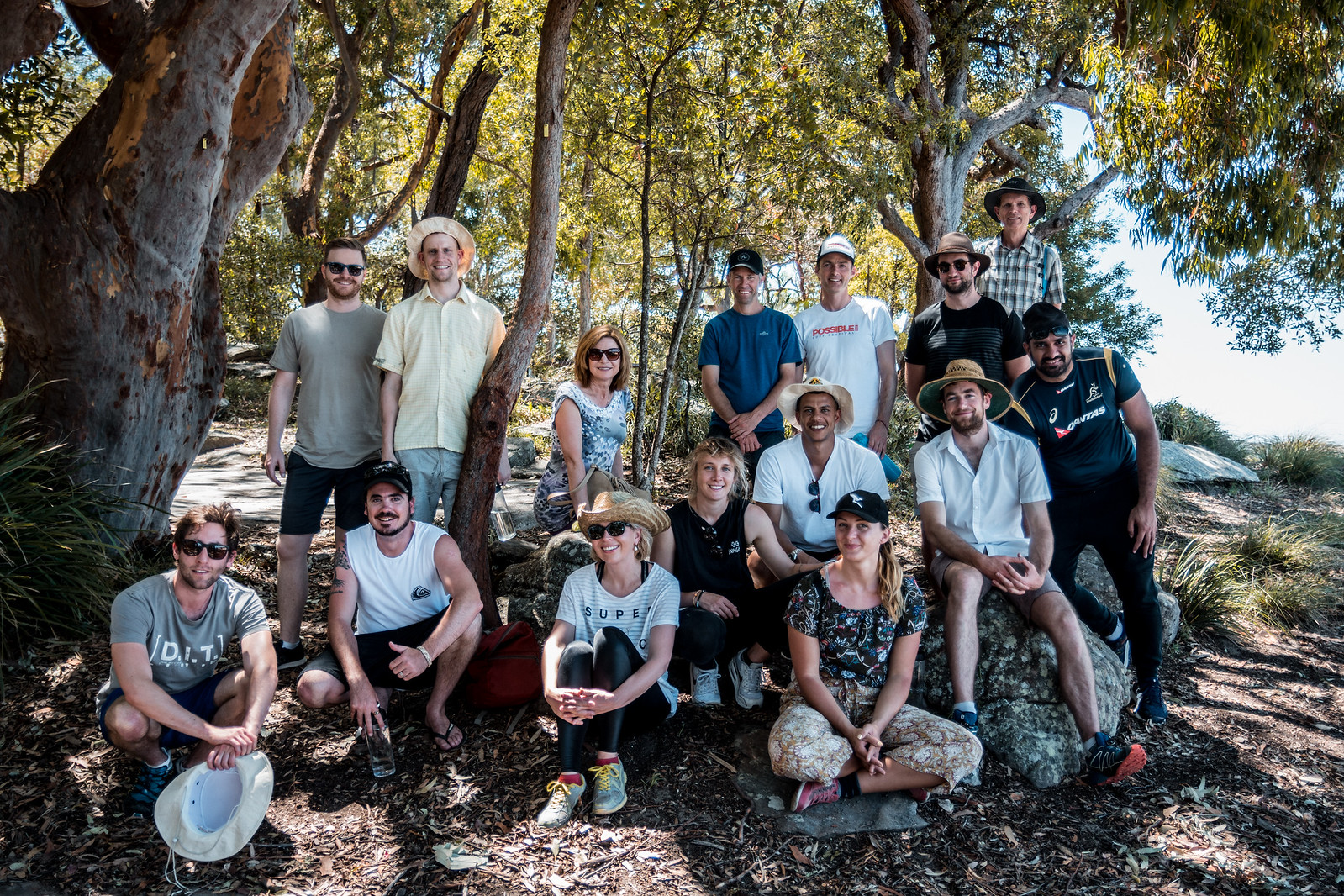 A very happy group of Gone Bush VIPs, sharing an unforgettable day 'on country' with Stuart McMinn