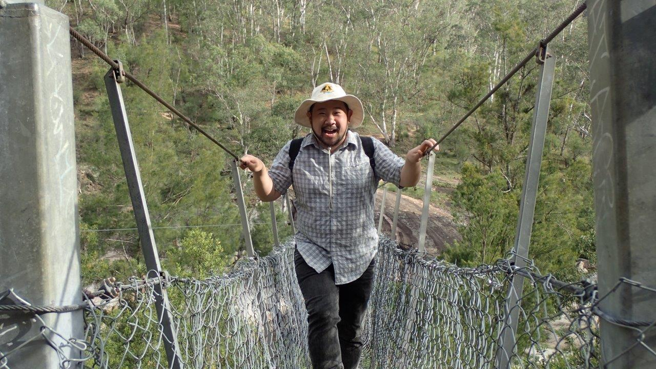 Crossing the bridge - Rising to the challenge and completing a thrilling crossing of the Coxs River.