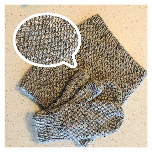 Irish Moss Cowl & Mittens Pattern