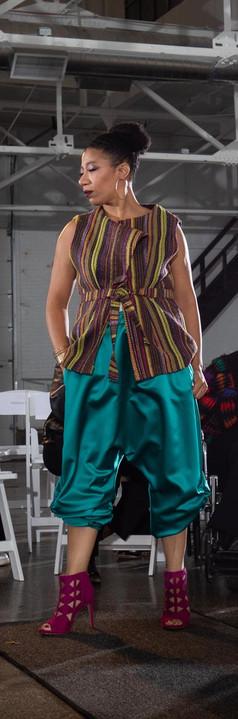 Belted Tweed Vest, Rouched Satin Harem Pant
