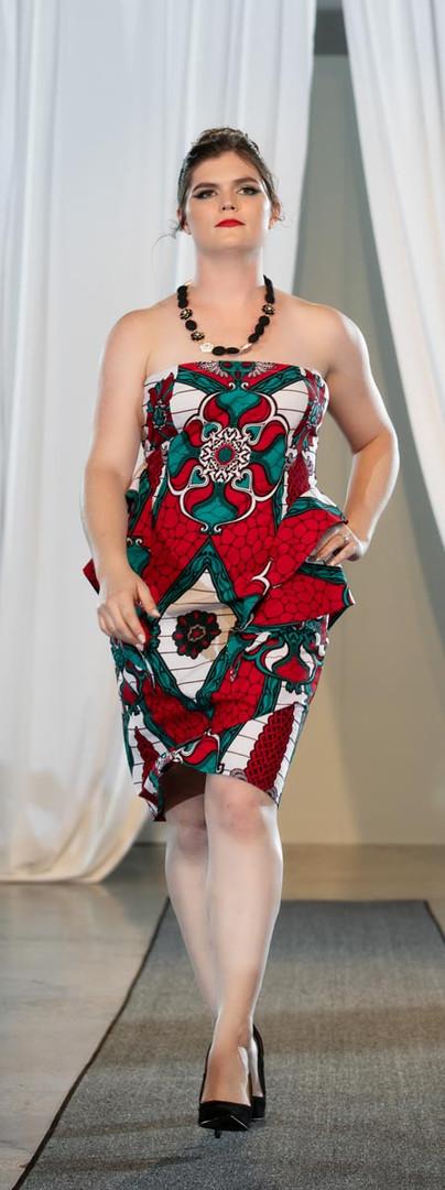 Printed Cotton Strapless Dress