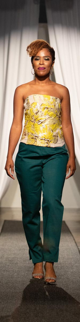 Silk Brocade Bustier, Cotton Dobby Straight Leg Pant