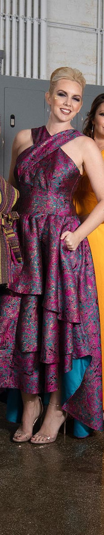 Silk Brocade Hi-Lo Dress, Pockets
