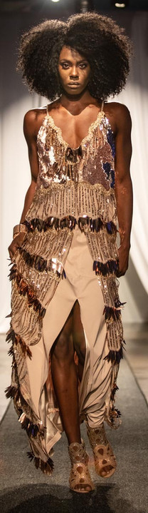 Fringe & Reversible Sequin Gown