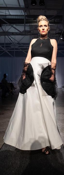 Cotton Denim Avante Gard Dress, Pockets