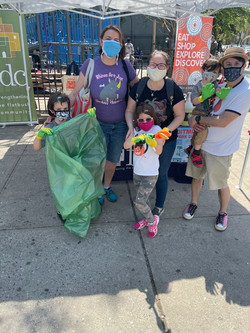 Families come out to clean