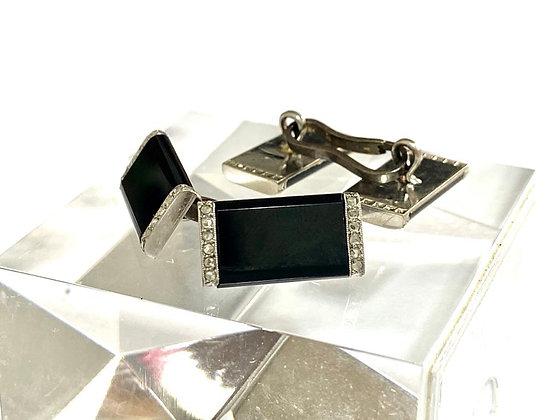 Gemelos de Platino 950 Onix y Diamantes.