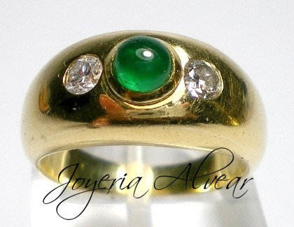 IMPORTANTE ANILLO 8,3 GRS ORO 18 KT-ESMERALDA NATURAL COLOMBIANA Y BRILLANTES