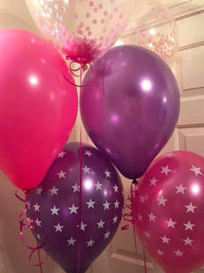 Three foil display with confetti balloons