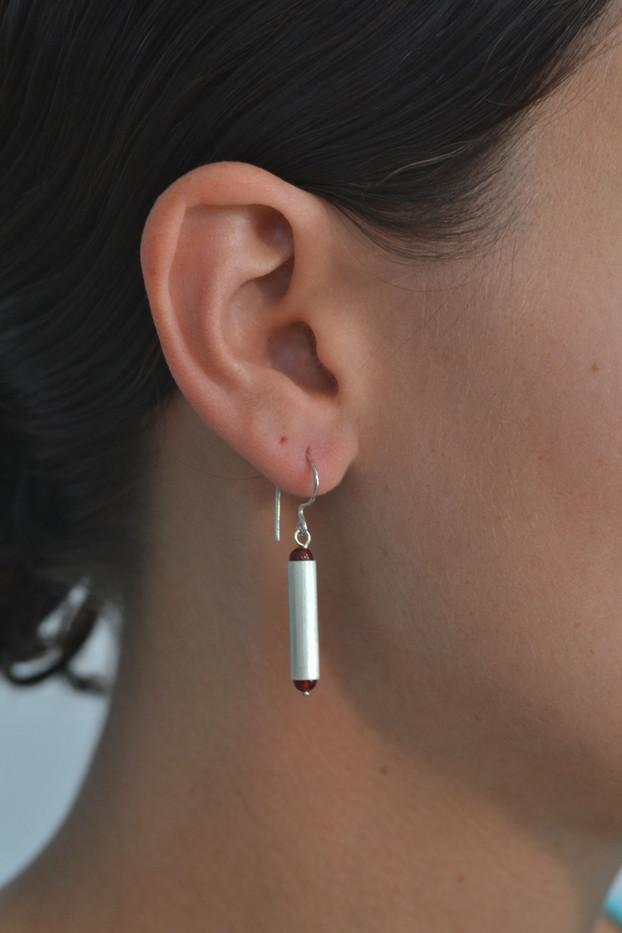 Two Stone Tube Earrings *Carnelian_2