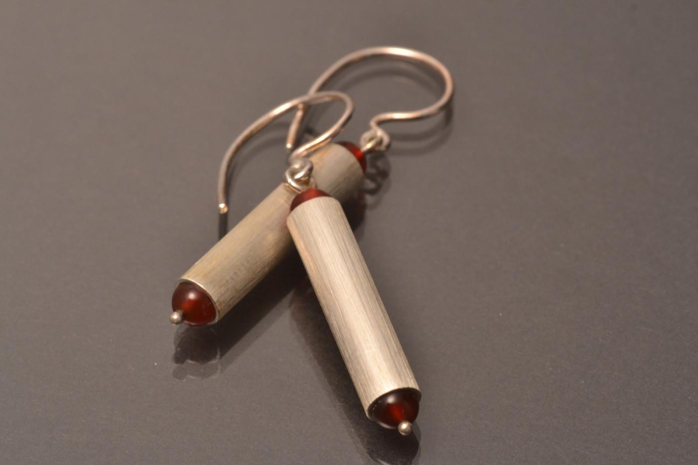 Two Stone Tube Earrings *Carnelian_1