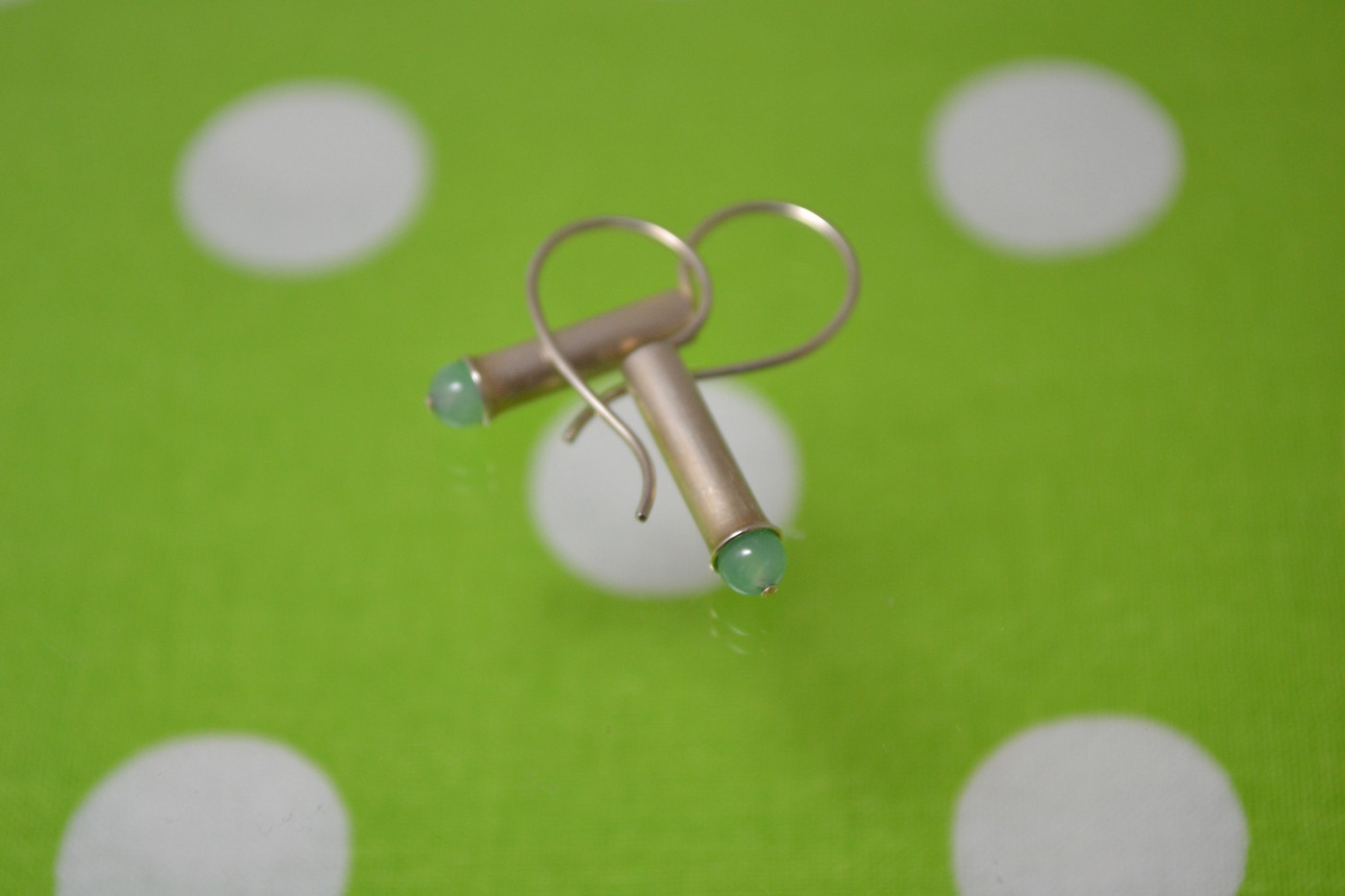 Trumpeted Tube Earrings *Chrysoprase_1