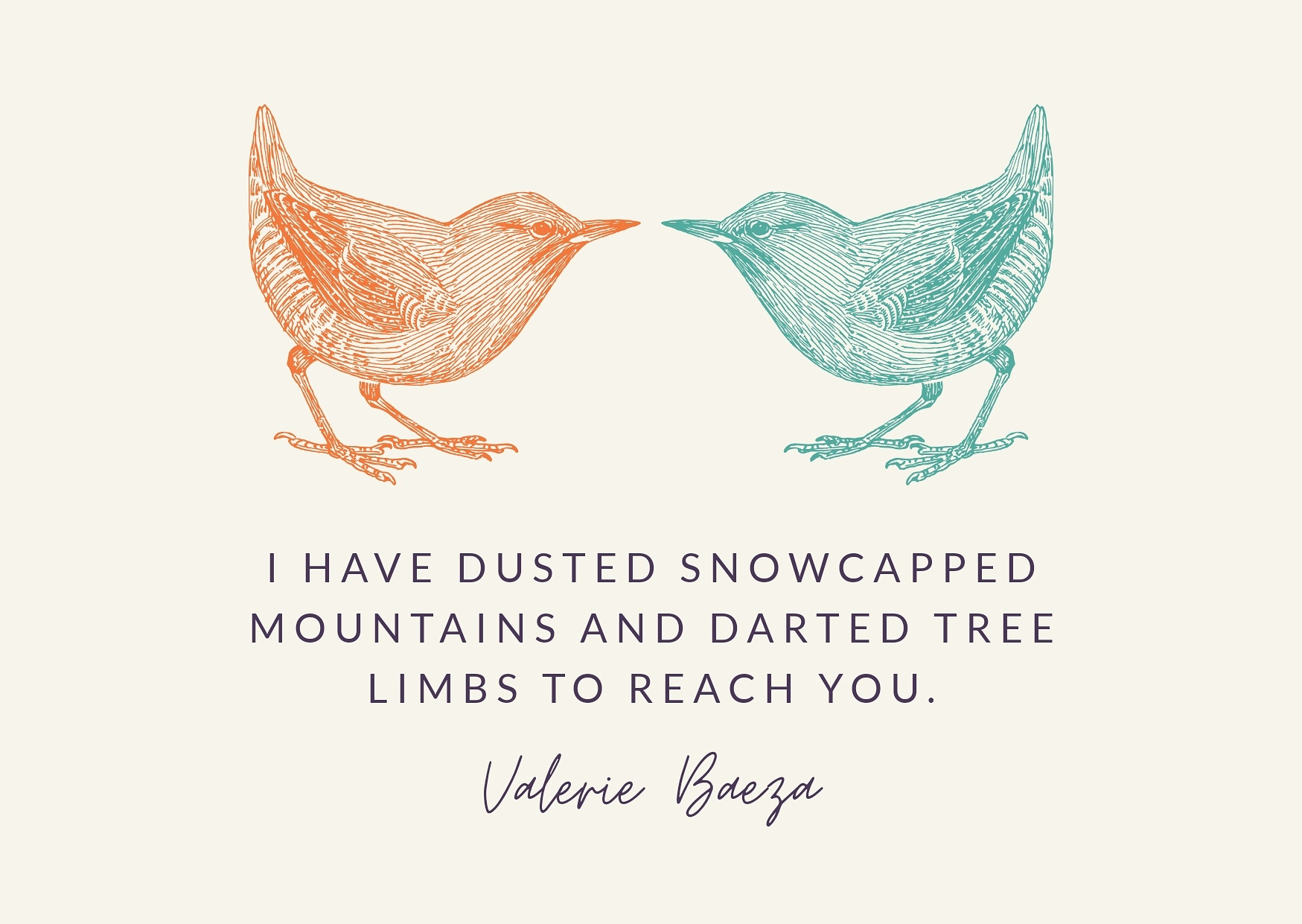 Two Birds Snowcapped Mountains by Valerie Baeza