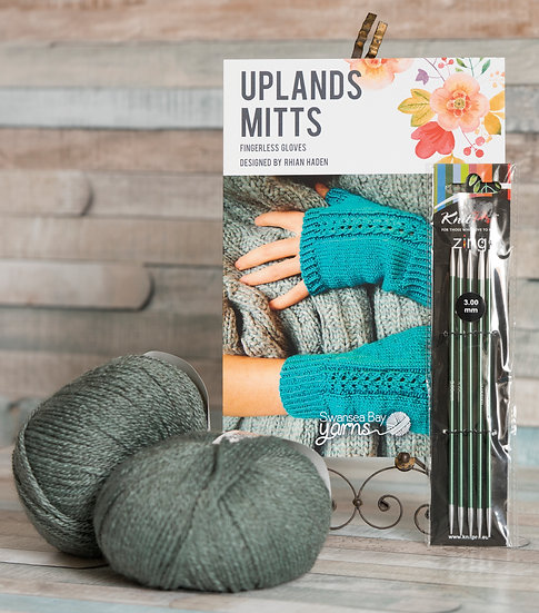 SBY 'Uplands Mitts' Knitting Pack - Sage Green