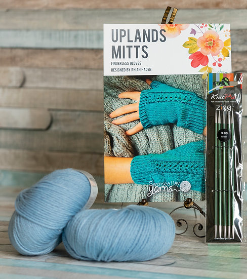 SBY 'Uplands Mitts' Knitting Pack - Light Blue