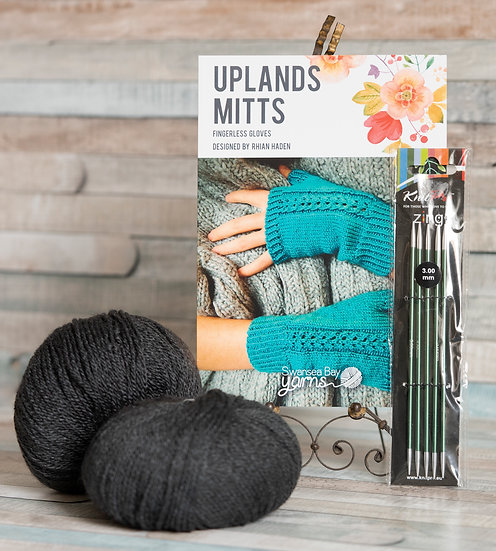 SBY 'Uplands Mitts' Knitting Pack - Anthracite