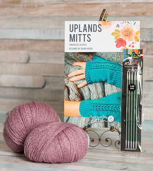 SBY 'Uplands Mitts' Knitting Pack - Pink