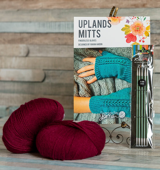 SBY 'Uplands Mitts' Knitting Pack - Bordeaux