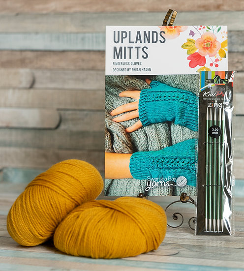 SBY 'Uplands Mitts' Knitting Pack - Mustard