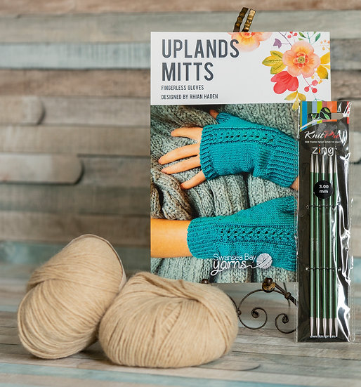 SBY 'Uplands Mitts' Knitting Pack - Twill