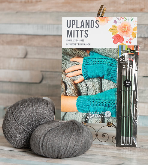 SBY 'Uplands Mitts' Knitting Pack - Grey