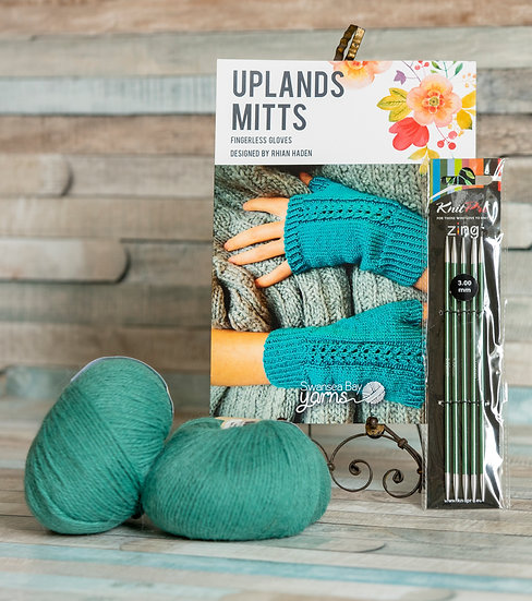 SBY 'Uplands Mitts' Knitting Pack - Serge
