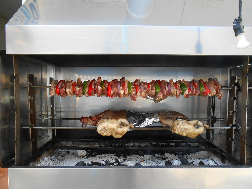 lamb and pork on the spit in Loutro