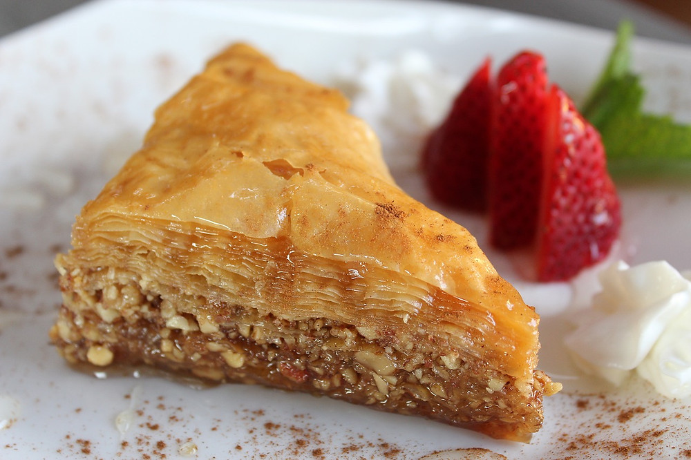 greek baklava with honey and nuts