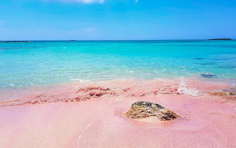 the pink sand at Elafonissi