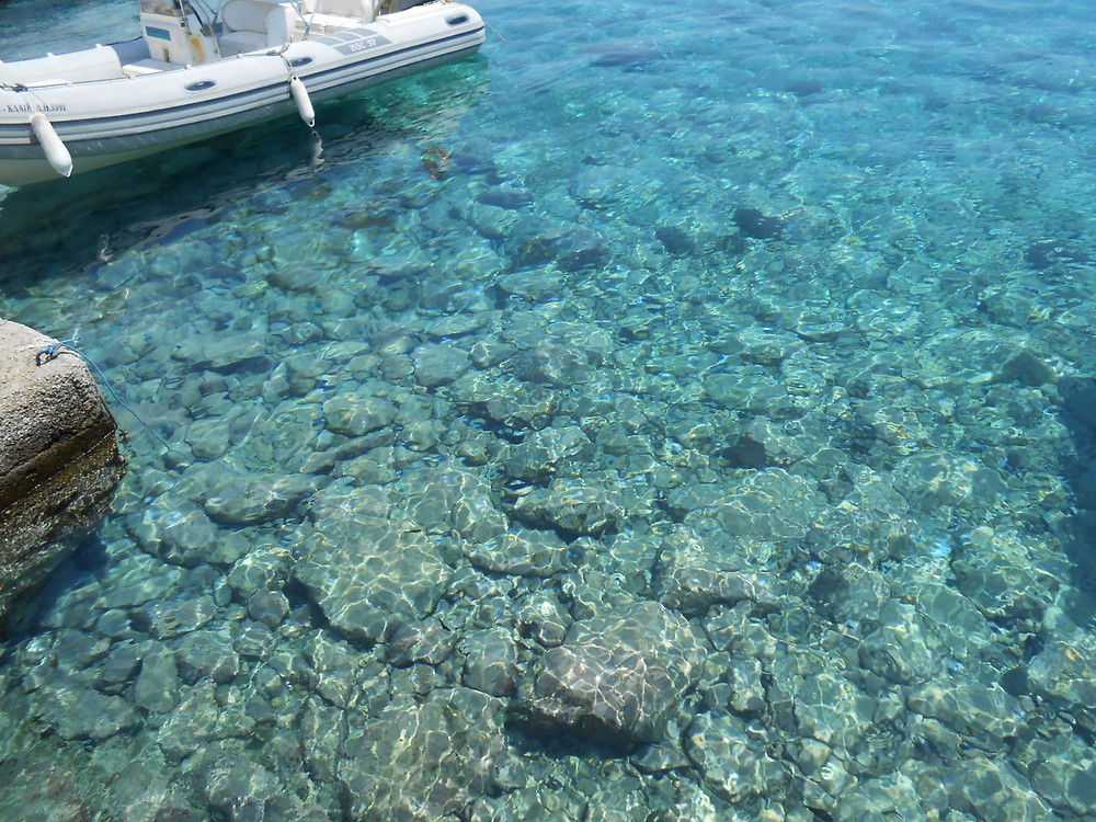 crystal clear water in Loutro