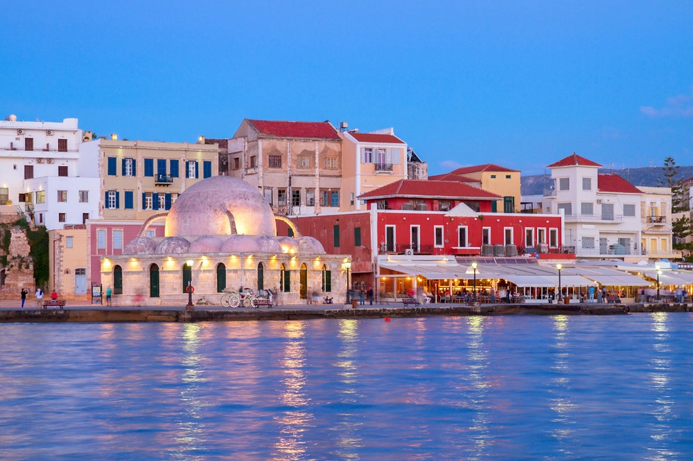 Chania old harbor evening view mosque
