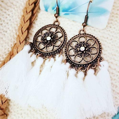 BoHo Tassel Earrings ☆ White