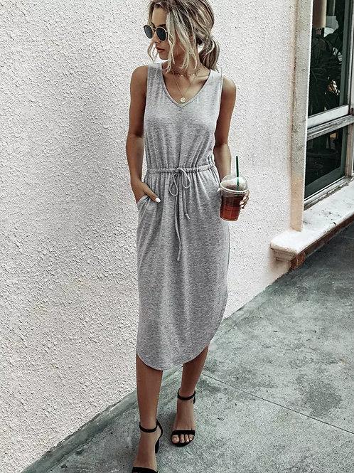 Cute and Casual Light Grey Tank Dress w/Side Slits