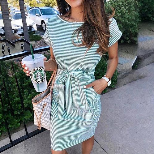 Cute Cotton/Spandex Blend Dress (Green Stripe)