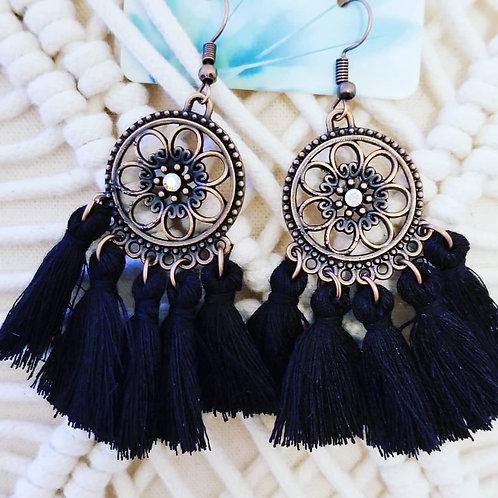 BoHo Tassel Earrings ☆ Black