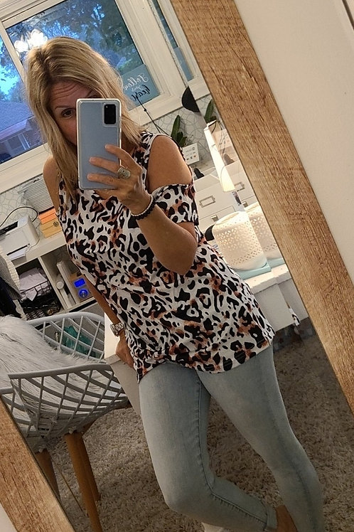 Cold Shoulder Animal Print Knotted Front Tee