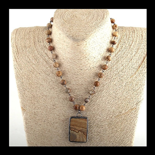 Large Pendant (Brown) Beaded Necklace STUNNING