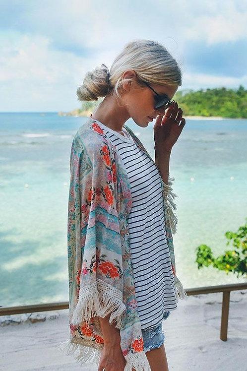 Boho Fringe Pastel Kimono