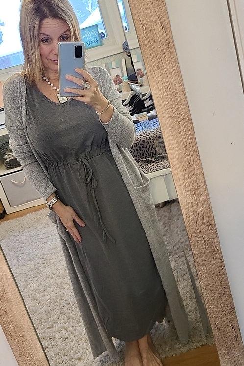 Cute and Casual Dark Grey Tank Dress w/Side Split