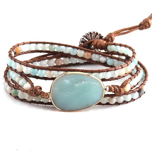 BoHo Wrap Bracelet Pale Blue Stone