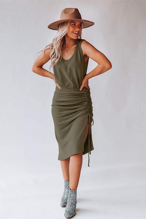 Maxi Dress w/Side Tie MOSS GREEN