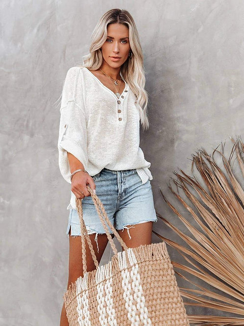 Island Knit Oversized Sweater w/Side Slits CREAMY WHITE