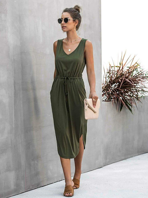 Cute and Casual Tank Dress w/Side Slit and Tie (Olive Green)