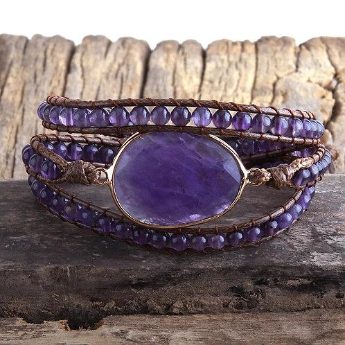 BoHo Stone Wrap Bracelet (Purple)