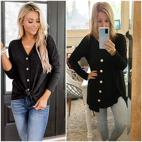 Simple and Stylish Black Waffle Button Shirt