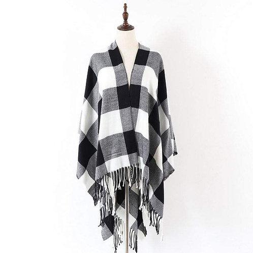 Buffalo Plaid White & Black Blanket Shawl
