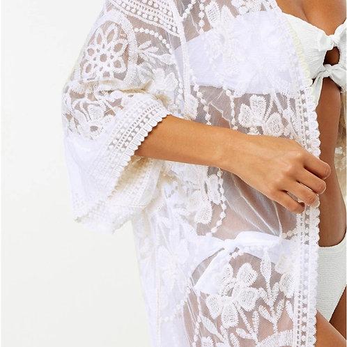 BoHo White Sheer Kimono ONE SIZE