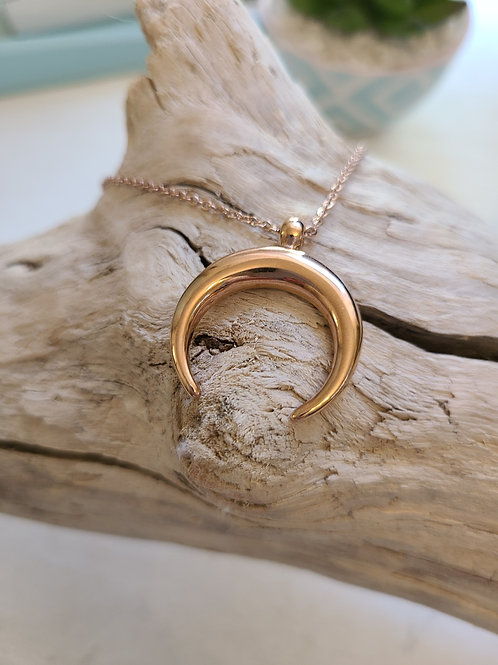 Stainless Steel ROSE GOLD Crescent Moon Necklace