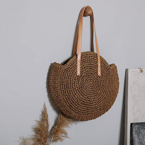 BoHo Chic Chestnut Brown  Large Woven Tote